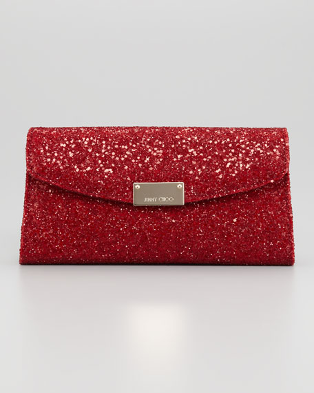 Riane Glitter Clutch Bag, Red
