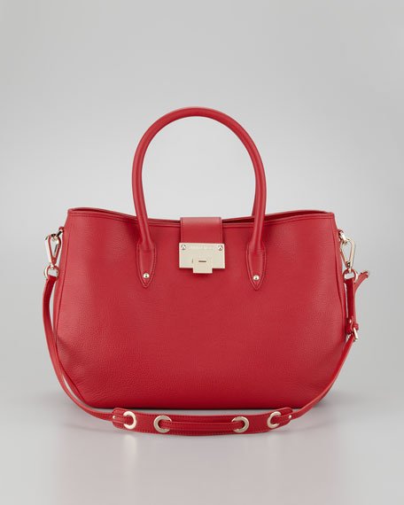 Rania Grainy Leather Tote Bag, Red