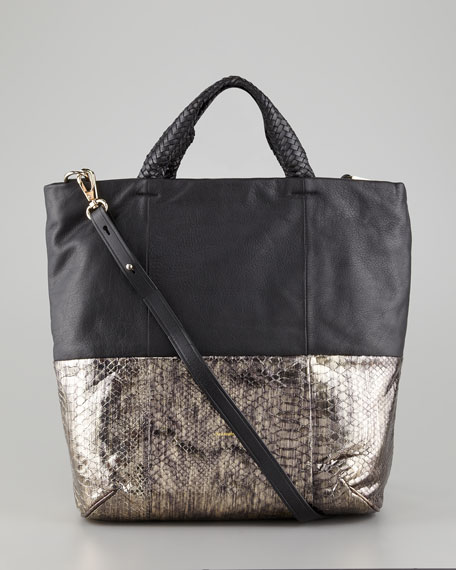 Jordie Snake-Print Crossbody Tote Bag, Black