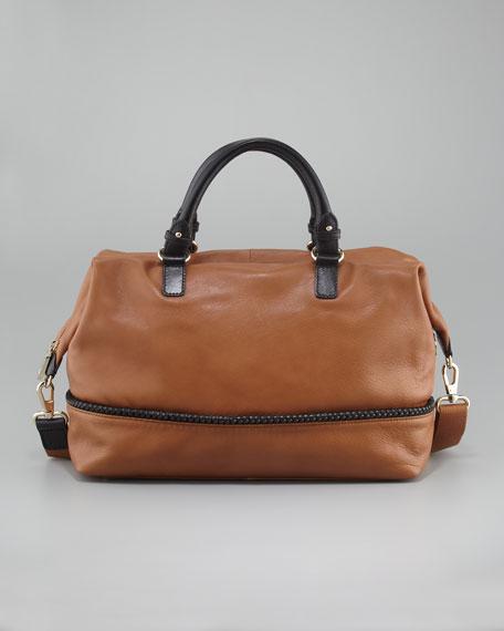 Kipton Braided Satchel Bag, Cognac