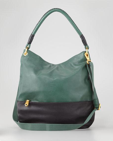 Jordie Two-Tone Hobo Bag, Green/Gray
