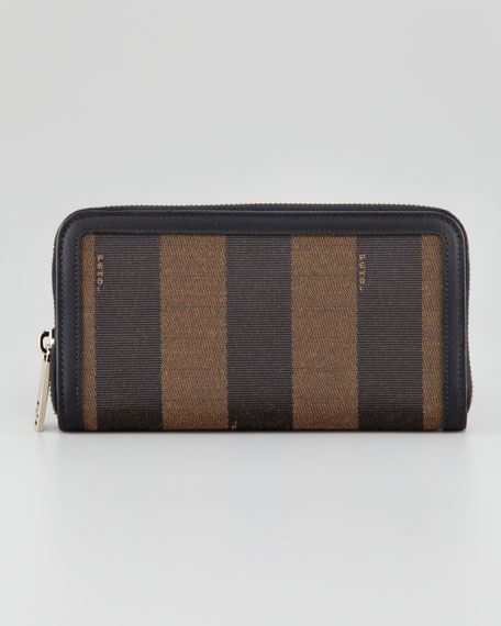 Zip-Around Striped Canvas Wallet, Tobacco/Brown