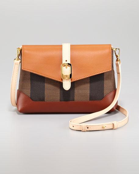 Leather Flap-Top Canvas Crossbody Bag