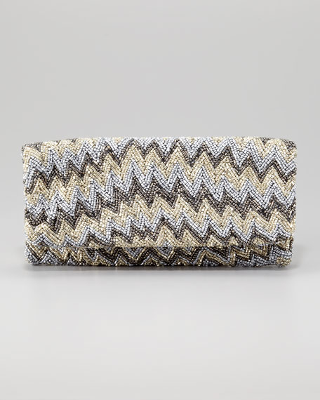 Chevron Beaded Clutch Bag, Silver/Pewter