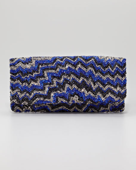 Chevron Beaded Clutch Bag, Royal Blue/Pewter