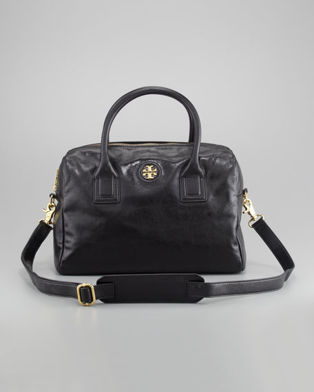 City Leather Satchel Bag, Black