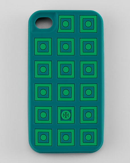 Square Dots Silicone iPhone 4 Case, Malachite/Green