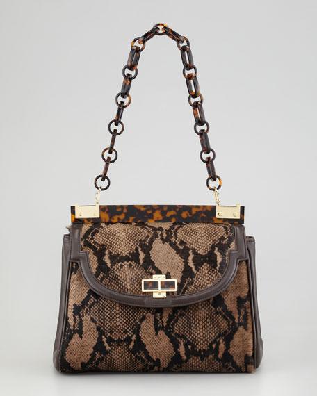 Snake-Print Calf Hair Medium Shoulder Bag