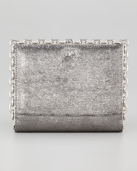 Catena Pebbled Clutch Bag, Pewter