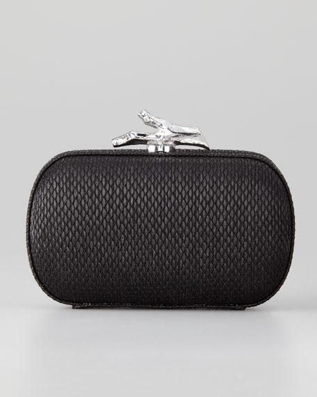 Lytton Raffia Clutch Bag, Black
