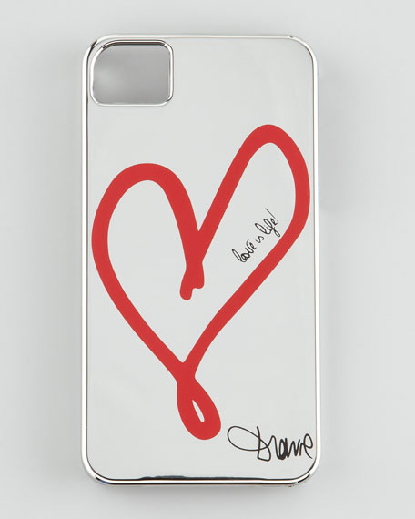 Single Heart iPhone 4 Case, Silver Hearts