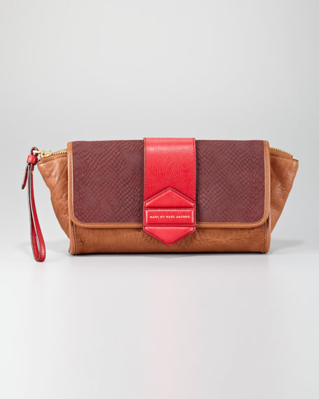 Flipping Out Lambskin-Calfskin Clutch Bag, Cinnamon