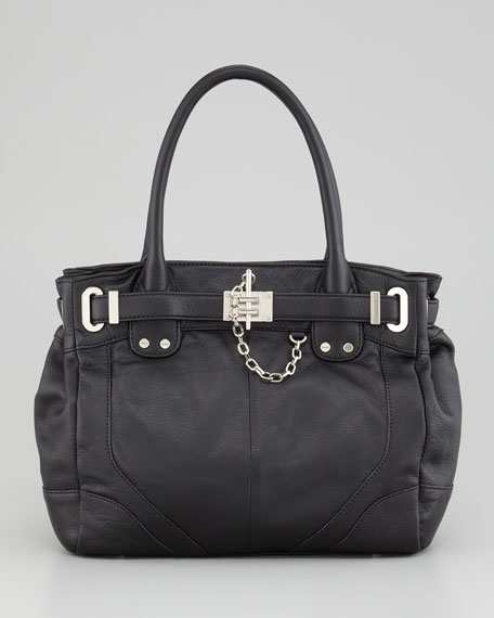 Zoe Belted Mini Tote Bag, Black