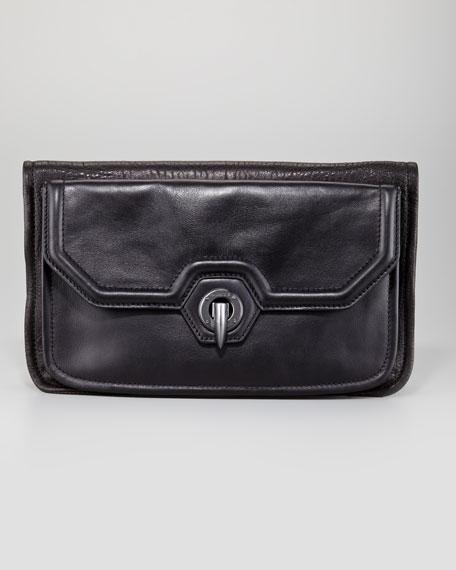 Eve Fold-Over Clutch Bag, Black