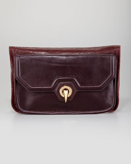 Eve Fold-Over Clutch Bag, Red