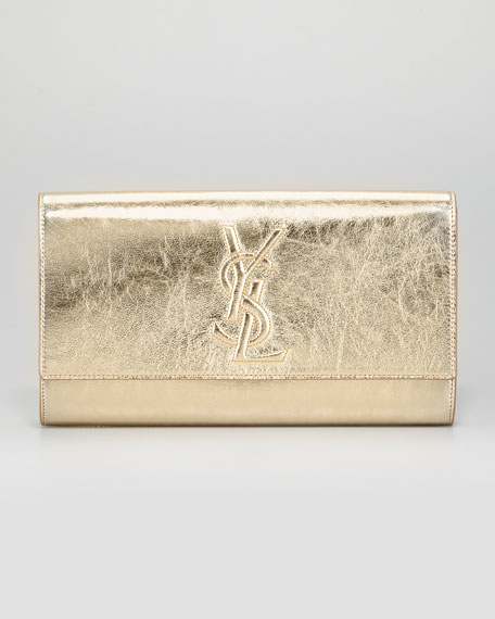 huge leather handbags - Yves Saint Laurent Belle De Jour Clutch Bag, Gold