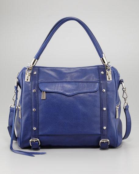 Cupid Studded Satchel Bag, Royal Blue