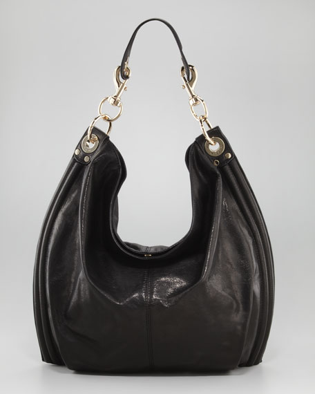 Luscious Goatskin Hobo Bag, Black