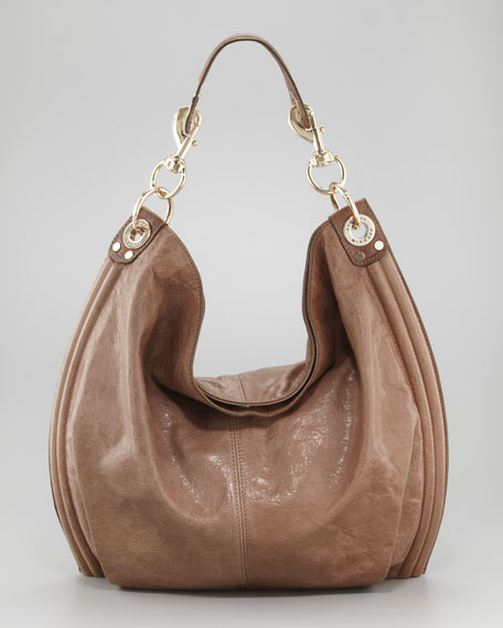 Luscious Goatskin Hobo Bag, Taupe