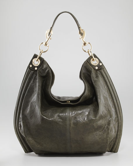 Luscious Goatskin Hobo Bag, Sage