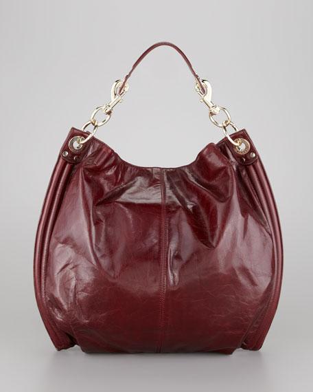 Luscious Goatskin Hobo Bag, Burgundy