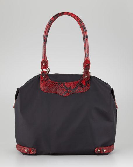 Python-Trim Travel Tote Bag, Black/Red
