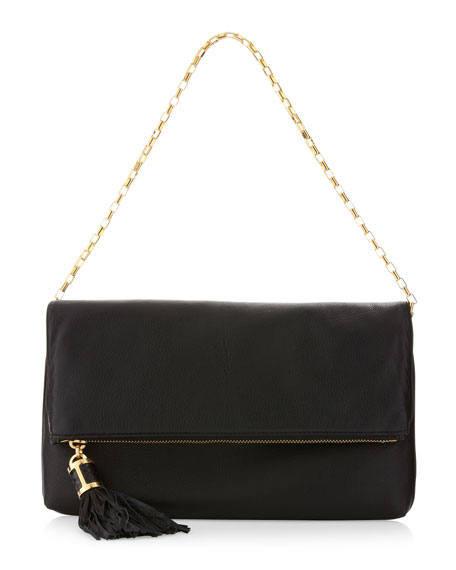 Tonne Fold-Over Clutch Bag, Black
