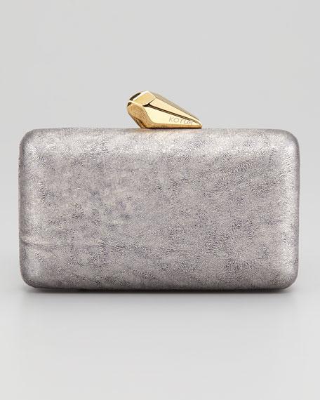 Espey Metallic Calfskin Minaudiere, Silver