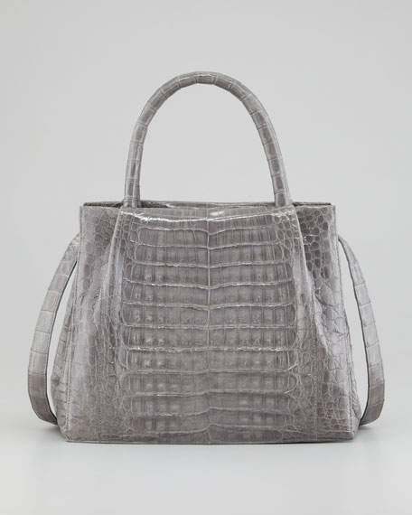 Crocodile Box Small Tote Bag, Gray