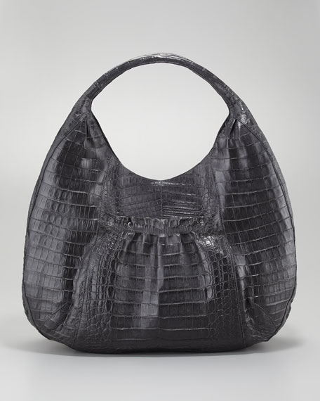 Ruffle-Pocket Crocodile Hobo Bag, Charcoal