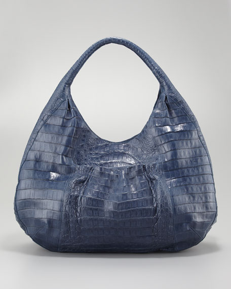 Ruffle-Pocket Crocodile Hobo Bag, Denim Blue