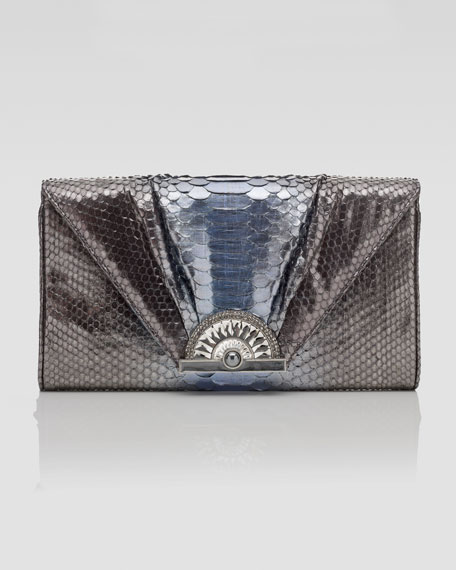 Bix Python Envelope Clutch Bag, Large