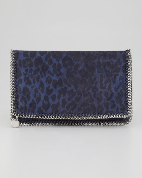 Falabella Fold-Over Clutch Bag, Midnight Leopard