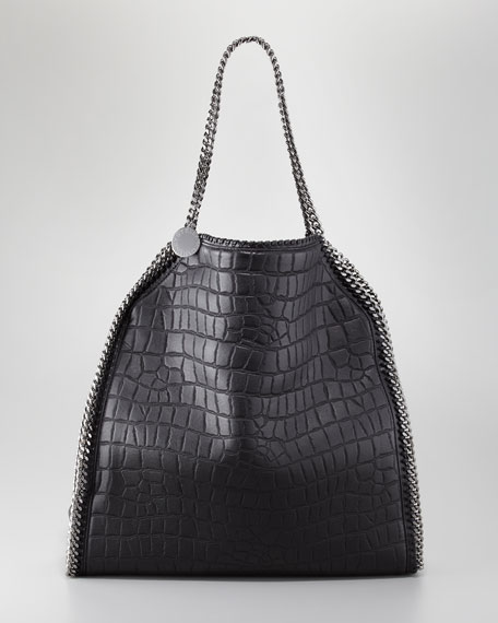 Falabella Crocodile-Embossed Large Tote Bag, Black