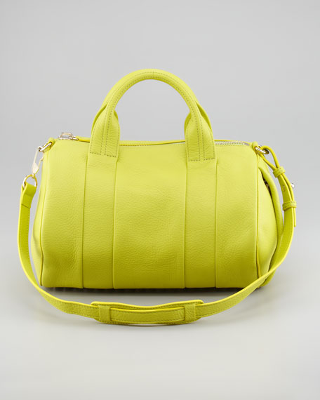 Rocco Stud-Bottom Duffel Bag, Acid Yellow
