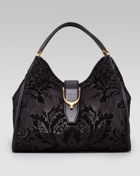 Soft Stirrup Brocade Medium Hobo Bag, Black