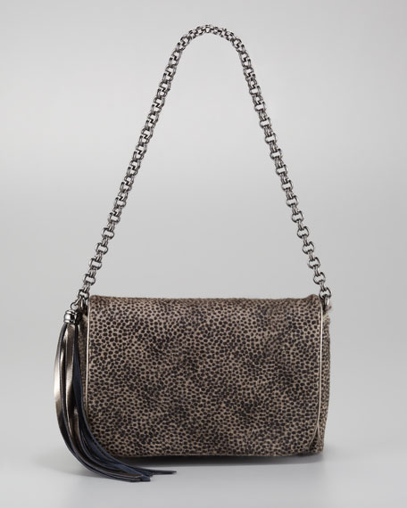 Jaz Micro-Spotted Calf Hair Shoulder Bag, Taupe
