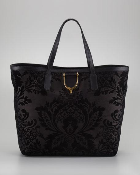 Stirrup Brocade Leather Tote Bag, Nero