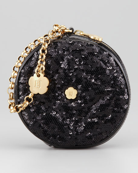 Sequin Round Wristlet, Black