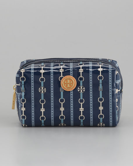 Brigitte Cosmetic Case, Small, Blue Chain Links