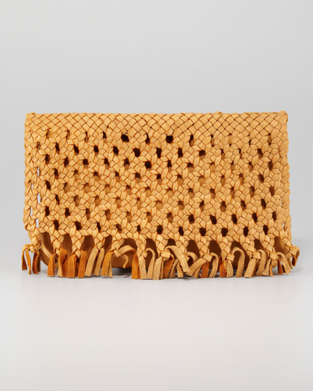 June Woven Flap Clutch Bag, Dark Natural