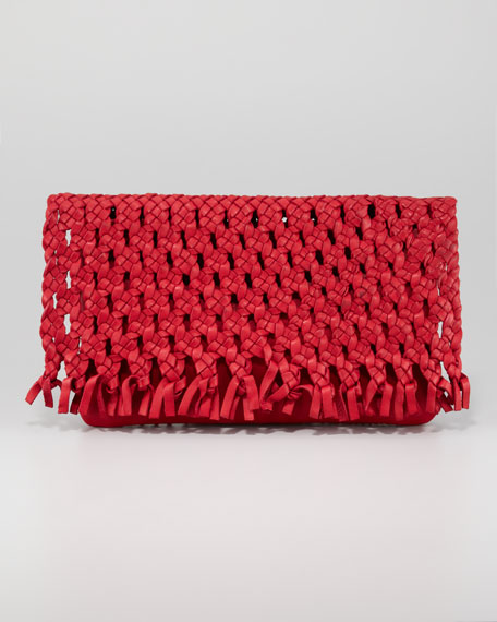 June Woven Flap Clutch Bag, Red