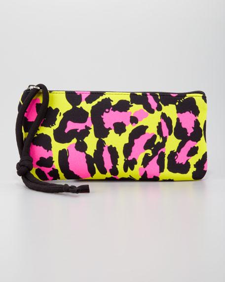 Scuba Cosmetic Bag, Lime Leopard
