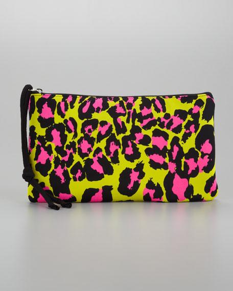 Scuba Large Cosmetic Bag, Lime Leopard