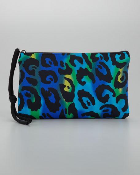 Scuba Large Cosmetic Bag, Turquoise Leopard
