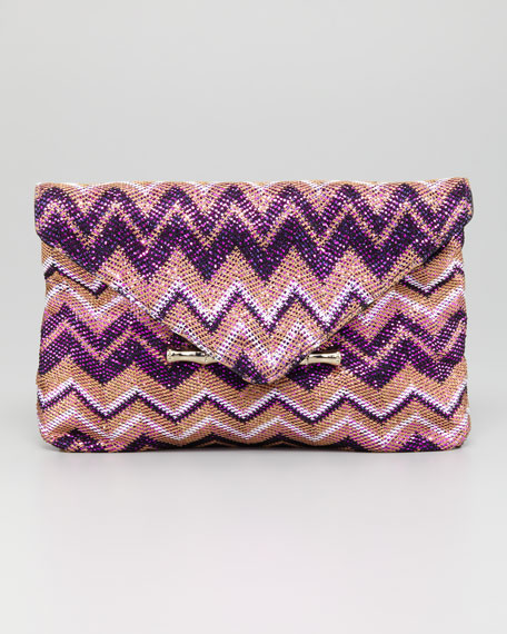Bella Metallic Flap Clutch Bag, Purple