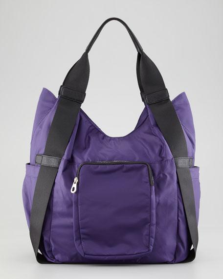 Haylee Nylon Hobo Bag, Purple