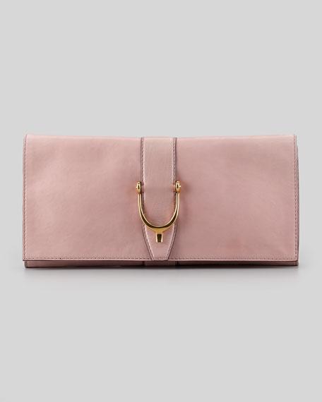 Large Stirrup Leather Clutch Bag, Dark Cipria