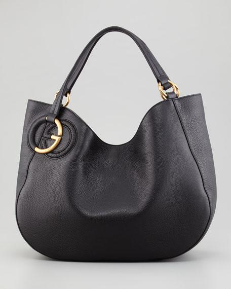 Twill Leather Large Shoulder Bag, Black