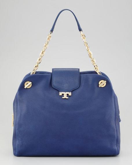Megan Lambskin Satchel Bag,  Parisian Blue
